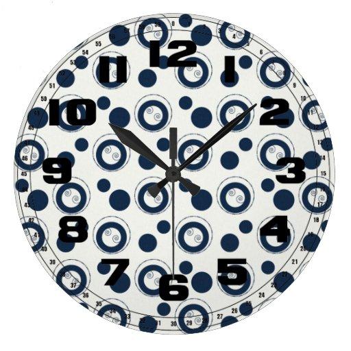 Navy Blue and Silver Concentric Circles Polka Dots Wall Clock