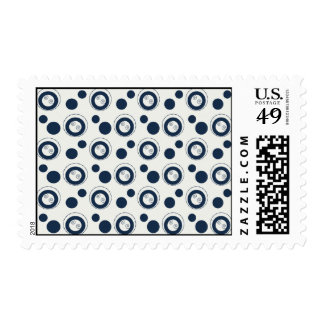 Navy Blue and Silver Concentric Circles Polka Dots Stamp