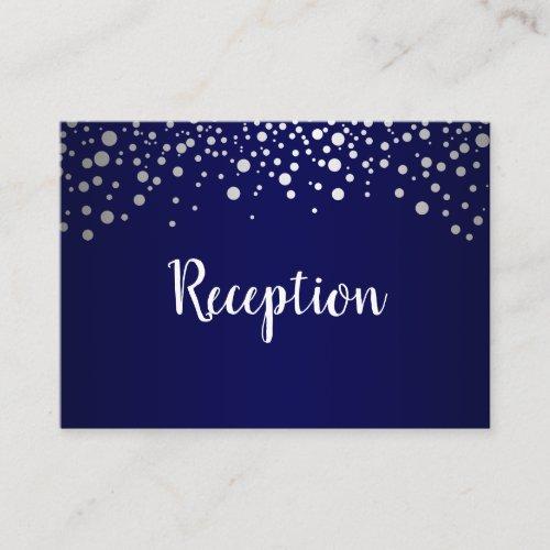 Navy Blue and Silver Confetti Dots _ Reception Enclosure Card
