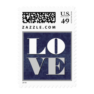 Navy Blue and Silver Damask LOVE Wedding Stamp