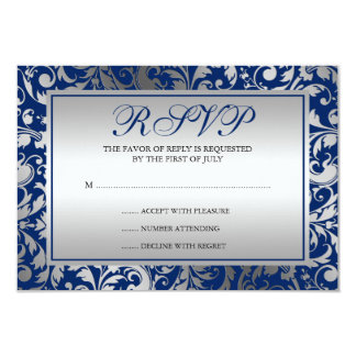 Navy Blue and Silver Damask Swirls Response Card