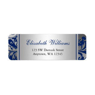 Navy Blue and Silver Damask Swirls Return Address Label