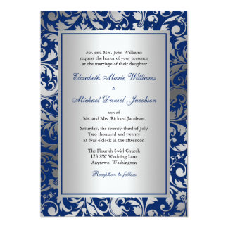 Navy Blue and Silver Damask Swirls Wedding Card