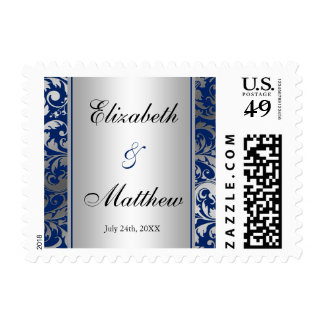 Navy Blue and Silver Damask Swirls Wedding Postage