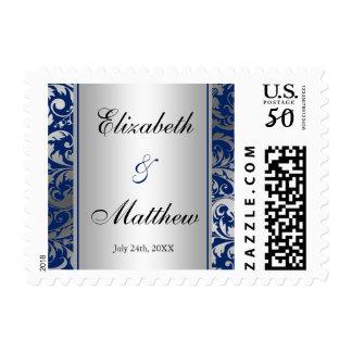 Navy Blue and Silver Damask Swirls Wedding Postage
