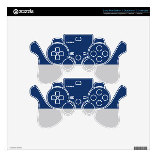 Navy Blue and Silver Demi-Stripe PS3 Controller Skin