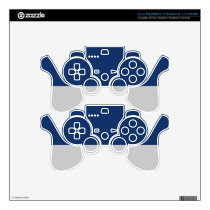 Navy Blue and Silver Demi-Stripe Skin For PS3 Controller