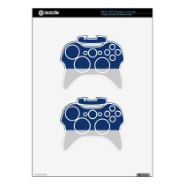 Navy Blue and Silver Demi-Stripe Xbox 360 Controller Skins