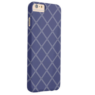 Navy Blue and Silver Geometric Diamond Outlines Barely There iPhone 6 Plus Case