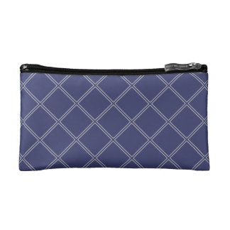 Navy Blue and Silver Geometric Diamonds Cosmetic Bag