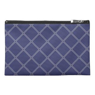 Navy Blue and Silver Geometric Diamonds Travel Accessory Bag