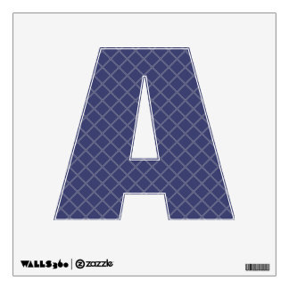 Navy Blue and Silver Geometric Pattern Letter A Room Decal