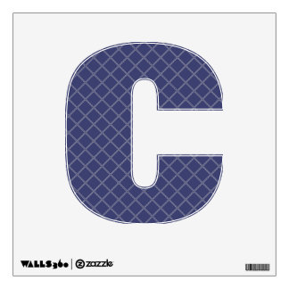 Navy Blue and Silver Geometric Pattern Letter C Wall Skin