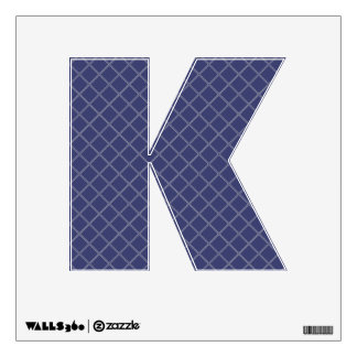 Navy Blue and Silver Geometric Pattern Letter K Room Graphics