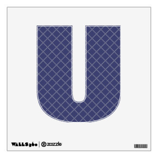 Navy Blue and Silver Geometric Pattern Letter U Wall Decor