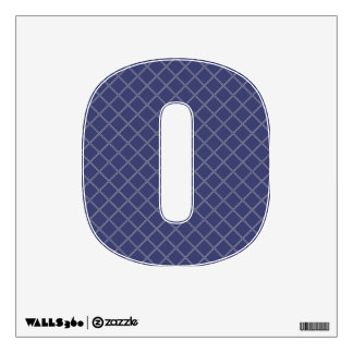 Navy Blue and Silver Geometric Pattern Number 0 Wall Graphic