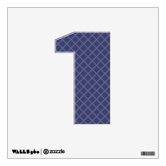 Navy Blue and Silver Geometric Pattern Number 1 Wall Stickers