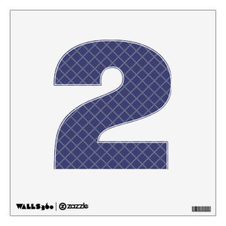 Navy Blue and Silver Geometric Pattern Number 2 Room Graphics