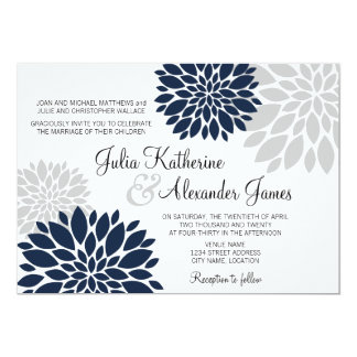 Navy Blue and Silver-Gray Floral Burst Wedding Card
