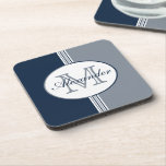 """Navy Blue and Silver Gray Stripes Monogram Beverage Coaster<br><div class=""""desc"""">(Design &#169; 2016 Deborah Dalio) – Monogram Collection – Show your sophistication with these drink coasters which feature classic navy blue,  silver,  and white stripes topped with an oval containing a customizable name and initial.  (Color codes: Navy = 0c2340; Silver = 808b97)</div>"""