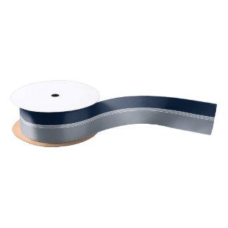 Navy Blue and Silver Gray Stripes Satin Ribbon