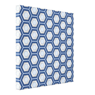 Navy Blue and Silver Hex Tiled Canvas