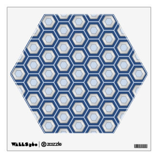 Navy Blue and Silver Hex Tiled Wall Decal