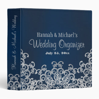 Navy Blue and Silver Indian Style Wedding Planner 3 Ring Binder