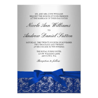 Navy Blue and Silver Lace Wedding Invitation