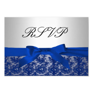 Navy Blue and Silver Lace Wedding RSVP Card