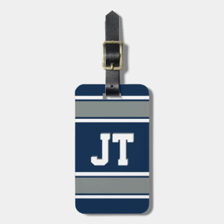 Navy Blue and Silver Sports Stripes Personalized Luggage Tag