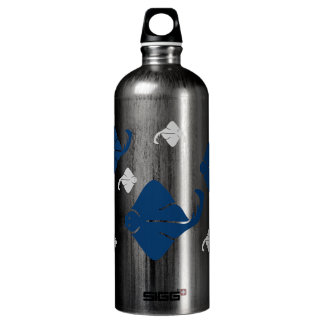 Navy Blue and Silver Stingray Fish Aluminum Water Bottle