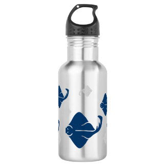 Navy Blue and Silver Stingray Fish 18oz Water Bottle