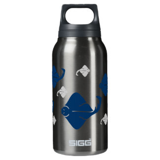 Navy Blue and Silver Stingray Fish 10 Oz Insulated SIGG Thermos Water Bottle