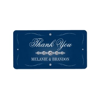 Navy blue and silver Thank You labels