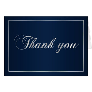 Navy Blue and Silver Thank You Note Card