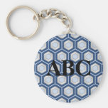 Navy Blue and Silver Tiled Hex Keychain