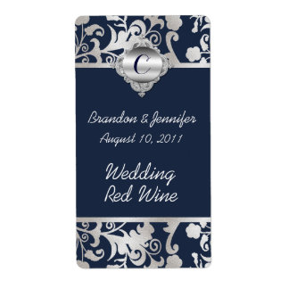 Navy Blue and Silver Tone Wedding Mini Wine Labels