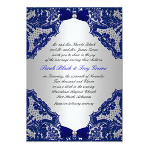 Navy blue and Silver Wedding Invitation 5