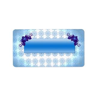 Navy blue and sky blue floral wedding gift custom address label