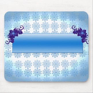 Navy blue and sky blue floral wedding gift mousepads
