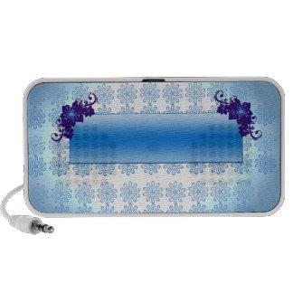 Navy blue and sky blue floral wedding gift speaker system