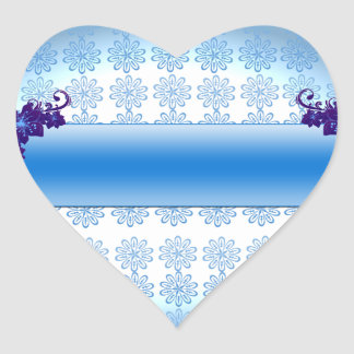 Navy blue and sky blue floral wedding gift heart sticker
