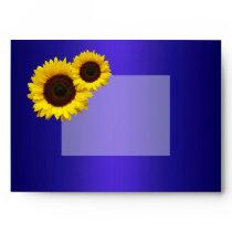 Navy Blue and Sunflowers Wedding Envelope