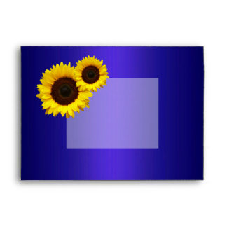 Navy Blue and Sunflowers Wedding Envelope