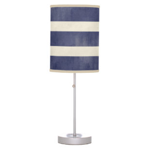Navy Blue and Tan Distressed Wide Stripes Desk Lamp