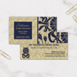 Navy Blue and Taupe Damask Professional Business Business Card