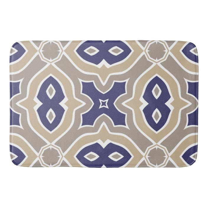 Navy Blue And Taupe Moroccan Bathroom Mat Zazzle Com