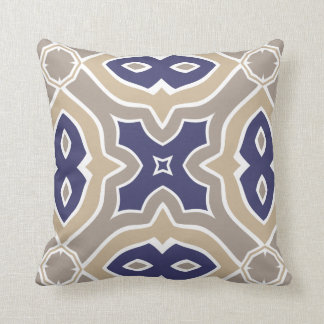 Navy Blue and Taupe Moroccan Throw Pillow