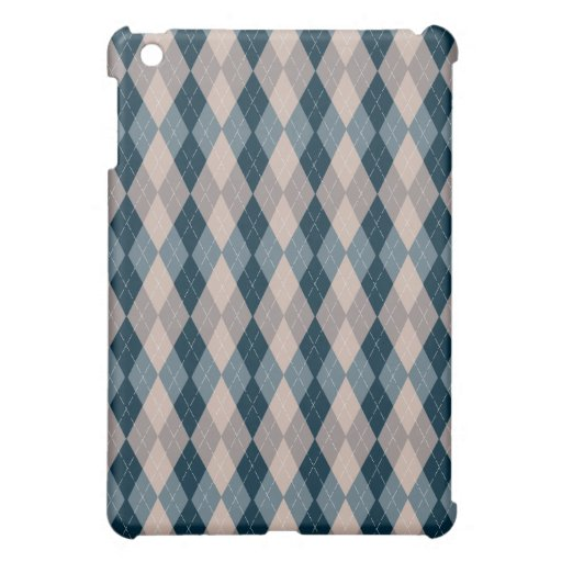 Navy Blue and Taupe Pattern Argyle iPad case